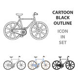 Sport bike racing on the track. Speed bike with reinforced wheels.Different Bicycle single icon in cartoon style vector Royalty Free Stock Images