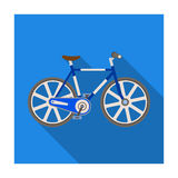 Sport bike racing on the track. Speed bike with reinforced wheels.Different Bicycle single icon in flat style vector Stock Images