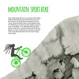 Sport bike. Vector poster with watercolor mountain. Stock Images