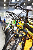 Sport bikes on bicycle parking Royalty Free Stock Photos