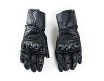 Sport black Moto gloves. Isolated on white background. Close up Royalty Free Stock Photos