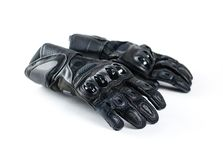 Sport black Moto gloves. Isolated on white background Royalty Free Stock Photo