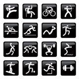 Sport black web icons buttons Stock Photos
