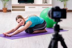 The sport blogger recording video for vlog. Sport blogger recording video for vlog Stock Images