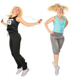 Sport blond makes exercise Royalty Free Stock Image