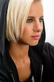 Sport blond woman wear black hoodie fitness. Outfit kick-boxer Royalty Free Stock Image