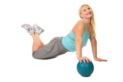 Sport blonde with ball Royalty Free Stock Image