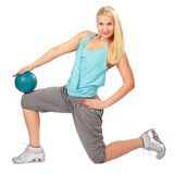 Sport blonde woman with ball Stock Photos