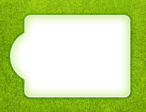 Sport board. Blank white sport score board for your text on the green grass field - for soccer, golf, football results, logo or text Stock Photos