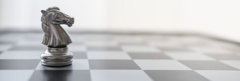 Free Sport Board Game, Business And Planning Cover Page Concept. Closeup Of Silver Knight Chess Piece On Chessboard Copy Space Royalty Free Stock Image - 181551726