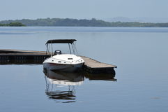 Sport boat at the dock. Stock Photo
