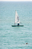 Sport boat and swimmer in the Black Sea Royalty Free Stock Photo