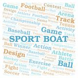 Sport Boat word cloud. Wordcloud made with text only royalty free illustration