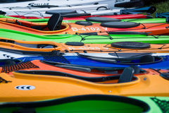 Sport boats, kayaks and canoes at the marina Royalty Free Stock Photo