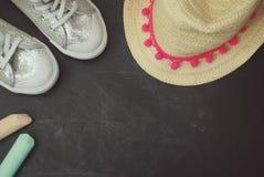 Sport Boots Children Chalkcs Chalkboard Textured Background Copy Space. Education family Parents stock photos