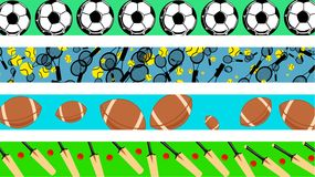 Sport borders. Set of four decorative page sport border designs Stock Photos