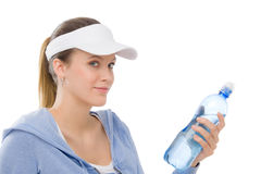 Sport - bottiglia di acqua dell'attrezzatura di forma fisica della giovane donna Immagine Stock Libera da Diritti