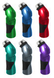 Sport Bottles. Six sport bottles in different colors stock photos