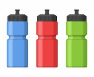 Sport bottles icon for water icon in flat style isolated on gray background with shadow. Sipper  illustration Stock Images