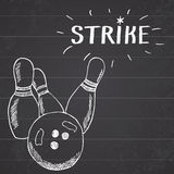 Sport bowling ball and pins Hand drawn sketch sports items. Drawing doodles elements with sign strike on chalkboard background Royalty Free Stock Image
