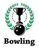 Sport bowling league label with laurel wreath Royalty Free Stock Photo