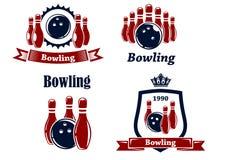 Sport- Bowlingspielembleme und -symbole Stockfotografie