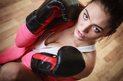Sport boxer woman in black gloves boxing Royalty Free Stock Photo