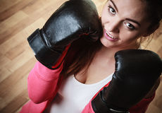 Sport boxer woman in black gloves boxing Stock Image