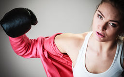 Sport boxer woman in black gloves boxing Royalty Free Stock Image