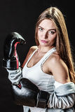 Sport boxer woman in black gloves boxing Royalty Free Stock Images