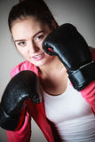 Sport boxer woman in black gloves boxing Royalty Free Stock Photos