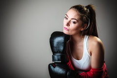 Sport boxer woman in black gloves boxing Stock Photos