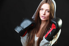 Sport boxer woman in black gloves boxing Stock Images