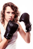 Sport boxer woman in black gloves. Fitness girl tr Stock Photos