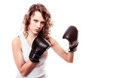 Sport boxer woman in black gloves. Fitness girl training kick boxing Royalty Free Stock Photos
