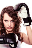 Sport boxer woman in black gloves. Fitness girl training kick boxing. Royalty Free Stock Photo