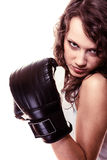 Sport boxer woman in black gloves. Fitness girl training kick boxing. Royalty Free Stock Photography