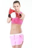 Sport boxer woman.Fitness girl training kick boxing. Stock Photo