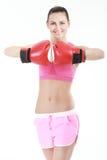 Sport boxer woman.Fitness girl training kick boxing. Royalty Free Stock Photo