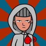 Sport boxing man cartoon character vector illustration stock illustration