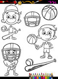 Sport boy set cartoon coloring page Stock Images