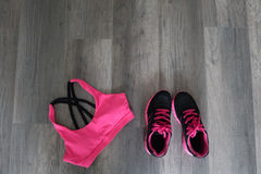 Sport bra and shoes. Sport bra and sport shoes Royalty Free Stock Images