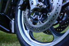 Sport brakes on motorcycle photographed outdoors Royalty Free Stock Image