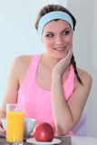 Sport and breakfast Royalty Free Stock Photo
