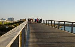 Sport on the bridge. People walking on the Bridge in Tel Aviv, Israel Royalty Free Stock Images