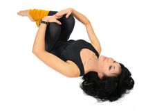 Sport brunette in black lies Royalty Free Stock Photos