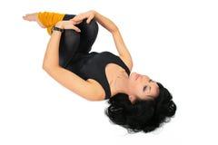 Sport Brunette In Black Lies Royalty Free Stock Photos