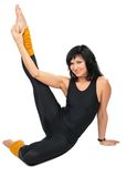 Sport Brunette In Black Makes Gymnastic Stock Images