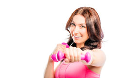 Sport brunette  with pink dumbbells Royalty Free Stock Photo
