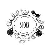 Sport bubbles white and black vector. Royalty Free Stock Photography